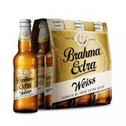 Cerveja Brahma Extra Weiss, 355ml, Long Neck, Pack C/6