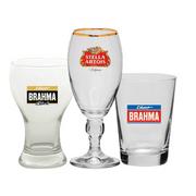 Kit com 3 Peças: Cálice Stella Artois, Brahma Chopp e Brahma Black